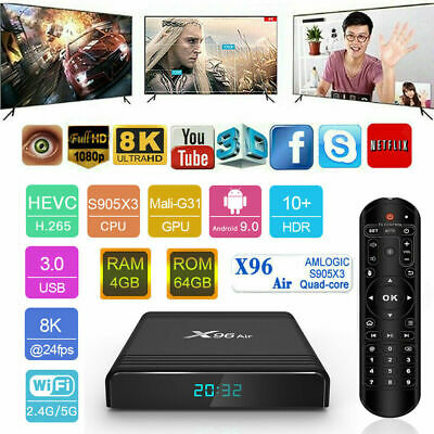 8K 1000M LAN X96 Air Smart Android 9.0 TV Box S905X3 2.4G / 5G WiFi Media S2W9