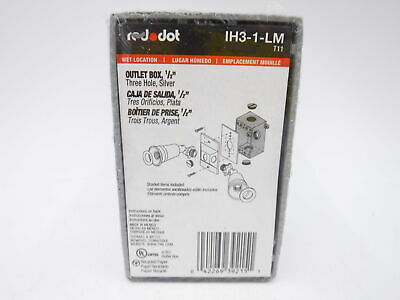 Lot of 3 RED DOT WET ELECTRICAL OUTLET BOX THREE 3 HOLE SILVER IH3-1-LM 8D121913