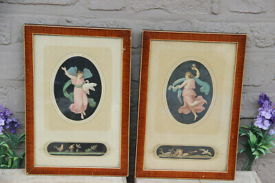 PAIR Antique Watercolor gouache painting on paper after pompeii fresco framed
