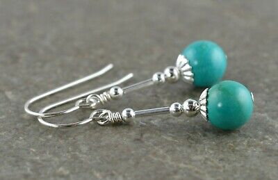 LG7 Natural Blue African Turquoise Gemstone /& Sterling Silver Drop Earrings with Gift Box