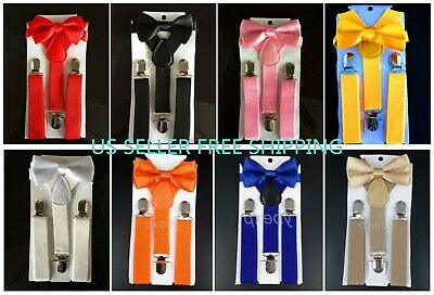 NEW Elastic Suspender and Bow Tie Sets for Boys Girls Kids - Ship from USA