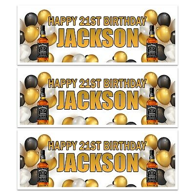 PERSONALISED JACK DANIEL WHISKEY BOURBON BIRTHDAY NAME BANNERS WALL DECORATION