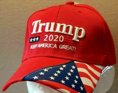 PRESIDENT TRUMP Hat 2020 RED Flag on Bill Cap 3D Embroidered Nice!!