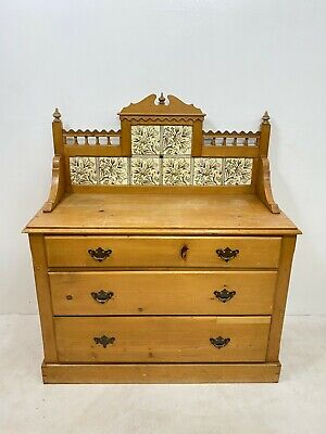 Antique Victorian solid pine washstand chest of drawers with tile back Delivery