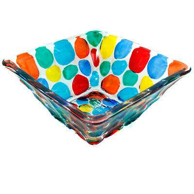 Murano Glass Sweet Candy Dish Bowl Jewellery Tray Square Multi Coloured 11cm