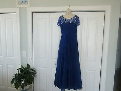 NEW Women's Milano Brides Mother Of The Bride Blue Evening Dress Gown Sequin 10