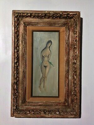 Antique Original quality vintage art NUDE STUDY lady with green vine SGND