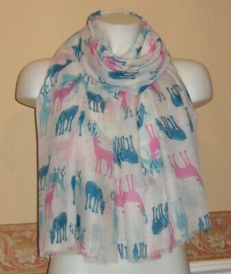 PEONY SNOW STAG NAVY SCARF GIFT FRIEND SISTER PRESENT REINDEER STAGS CHRISTMAS