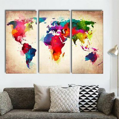 3Pcs Abtract World Map Canvas Print Oil Painting Wall Art Picture Home Decor US