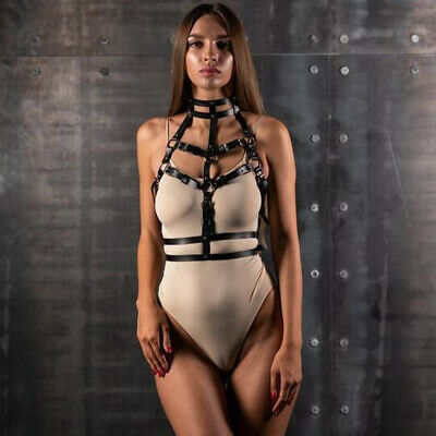 Leder BDSM Body Strap on Harness für Frauen Bondage Fesseln Adult Caged BH