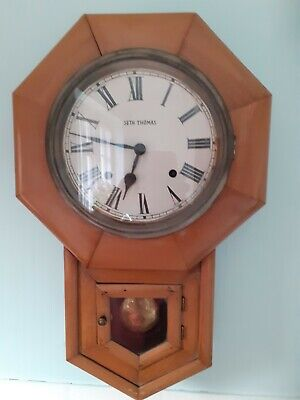 ANTIQUE SETH THOMAS WOODEN WALL CLOCK- with striking movement (bell)