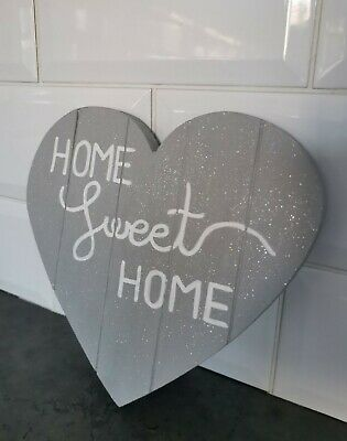 Wooden Glitter Sparkle Rustic Hanging Heart Grey Home Sweet Home