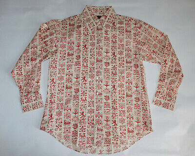 Vtg NWOT 1970s KINGS ROAD SEARS Poly Cotton Button Down rust Long Sleeve Shirt L