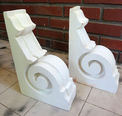 """Vintage Pair of Wood Corbel Brackets White Architectural Wall 12"""" x 8"""" x 3.25"""""""