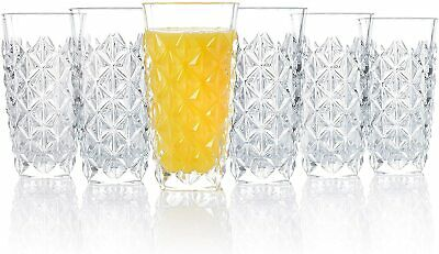 Set of 6 X RCR Italian Crystal Enigma Highball Tumbler Glasses 400ml --Brand New