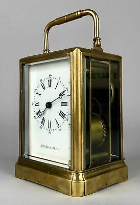 BOLVILLER A PARIS C19th FRENCH BRASS/GLASS CASED TRAVEL CARRIAGE TIMEPIECE CLOCK