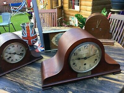 Early 20th century mahogany westminster chime mantle clock napolean hat style