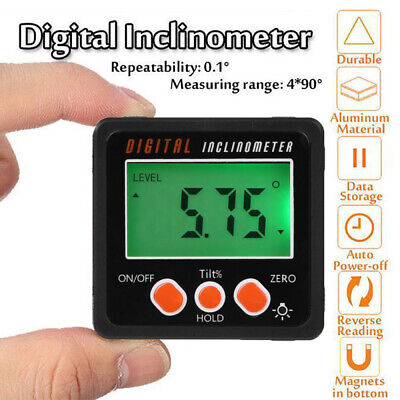 LCD Digital Inclinometer Protractor Angle Finder Bevel Magnetic Base Waterproof