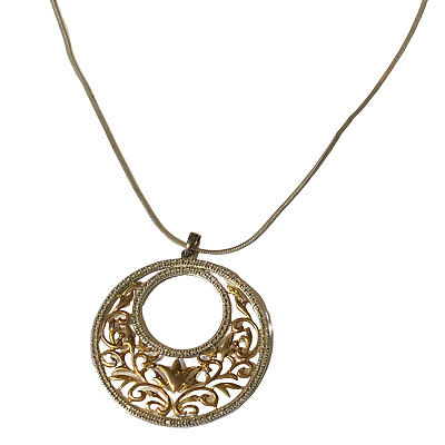"""Ross Simons Two Tone Sterling Silver Pendant on 24"""" Sterling Chain Necklace"""
