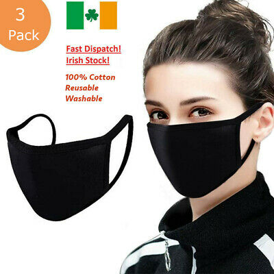Face Mask Covering Washable and Reusable 100% Cotton Unisex 3 Pack