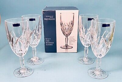 "Set of 4 Marquis By Waterford Brookside Iced Beverage Glasses 8 1/2"" New In Box"