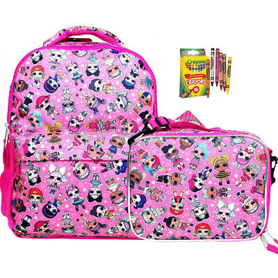 """L.O.L Surprise! Allover Print 16"""" Pink Backpack, Lunch Bag and Crayola"""