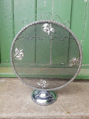 Vintage Chrome Fire Screen, Mesh, Round, small
