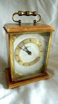 Good Quality Vintage Heavy Brass And Onyx Carriage Clock By metamec