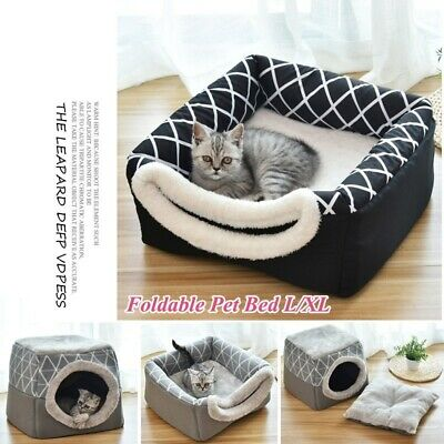 Soft Foldable Cat Dog House Nest Tent Removable Puppy Bed Cave Pet Kennel Warm
