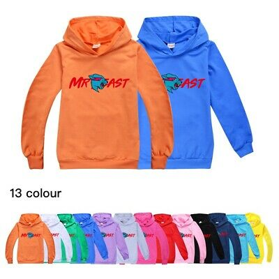 Boys Girls Hoodies Mr Beast Lightning Cat Long Sleeve Sweatshirt Hooded Tops