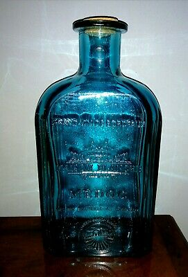 NEW Very Large Blue Glass Château Maison Blanche Medoc Bottle -EcoGlass Recycled