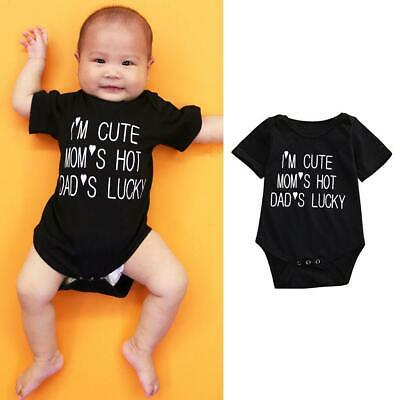 Cotton Newborn Bodysuit I/'M CUTE MOM/'S HOT DAD/'S LUCKY Jumpsuit V9N5 A8O0