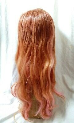 Ladies Long Curly Ginger Wig with Pink Highlights + Wig Cap