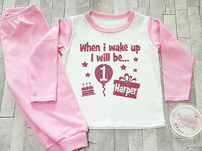 Birthday Girl 1st Outfit girls personalised With Matching Pyjamas Ages 1 Pjs