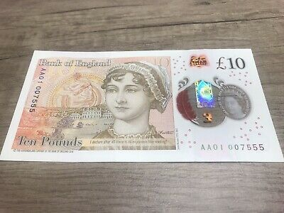 """NEW £10 TEN POUND NOTE POLYMER - 👀AA01 007555👀 - Very Rare Serial  """"007"""" Solid"""