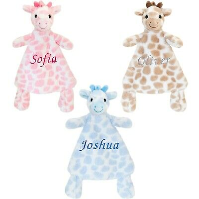 Baby Boy Girl Personalised Name Comforter Blanket Mini Giraffe Keel Soft Toy