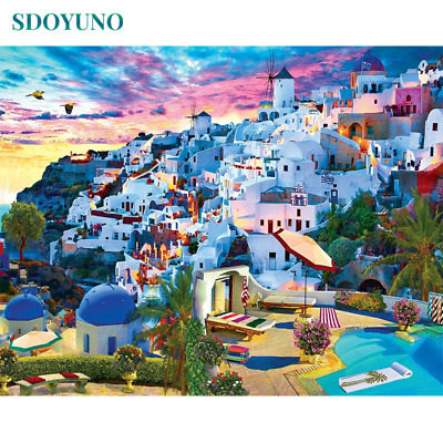 Santorini Blue Sky City Scenery Canvas Picture Oil DIY Paint Set by Numbers Kits