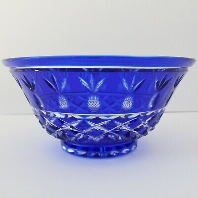 Vintage Violetta Cobalt Blue Handcut Lead Crystal Large Decorative Bowl