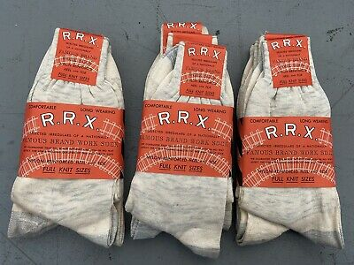 1940's NOS Vtg 12 Pairs White Salt Pepper All Cotton WORK Socks Sz 8-10 WORKWEAR