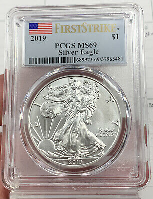 2019 $1 American Silver Eagle Dollar PCGS MS69 First Strike