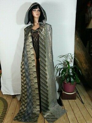 Hand Made Cape Cloak Hood Open Sand Blk Brw Gold Lace Panels Goth Medieval 1 SZ