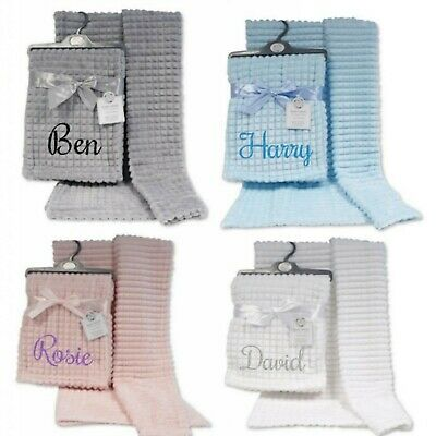Waffle Baby Blanket Personalised Embroidered Pink Blue Grey White Super Soft