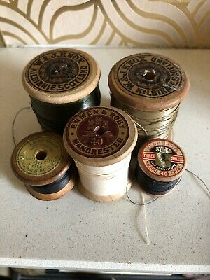Vollection Of Vintage Wooden Sewing Bobbins - Ermen & Roby, WJ Knox