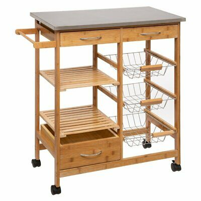 Kitchenette trolley on wheels, bamboo, 37 x 76 x 86 cm