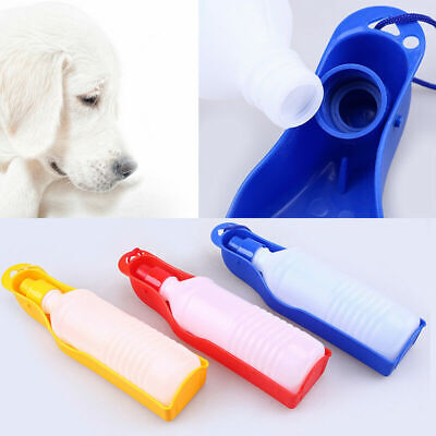 US 500ml Pet Water Drinking Feeder Portable Dog Cat Folding Bottle Outdoor NEW