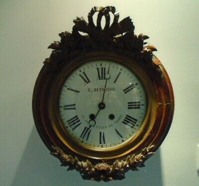 Rare Antique Pre 1900 French 8 Day Striking Wall Clock
