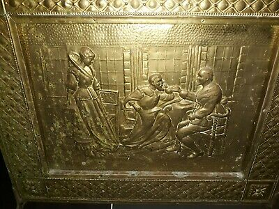 Brass Fronted Wooden Fire Screen - Excellent Used Condition
