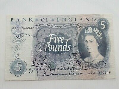 Bank Of England 5 Pounds Note. Hollom.