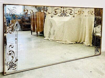 LOVELY LARGE FRENCH 20th CENTURY REVERSE PAINTED OVERMANTLE MIRROR, C1940