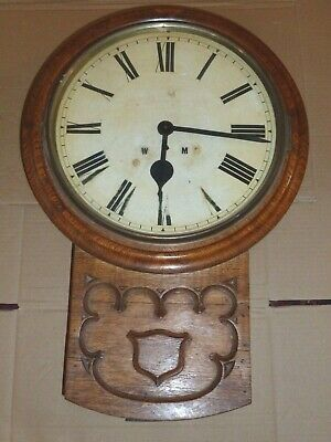 Antique Oak Mid 19th Century Gothic Drop Dial Fusee Wall Clock *Spares/Repair*